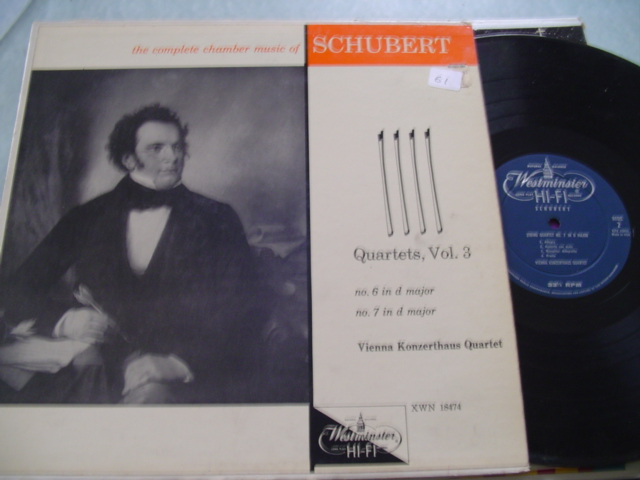 SCHUBERT - QUARTETS VOL 3 - VIENNA QUARTET - WESTMINSTER